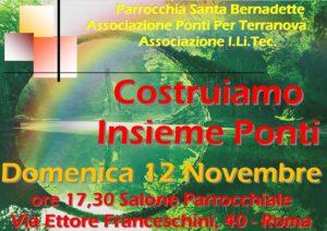 Invito all'evento Un ponte per Terranova che si terrrà Domenica 12 Novembre 2017 a Roma in via Ettore Franceschini 40 presso la Parrocchia Santa Bernadette (Salone parrocchiale)